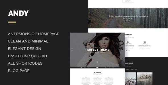 Andy – Elegant Creative Minimal Style Onepage PSD