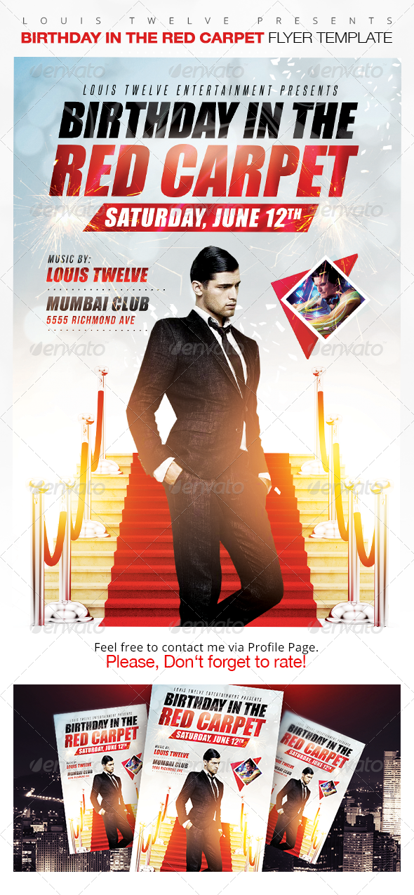 Birthday In The Red Carpet Flyer Template Graphicriver