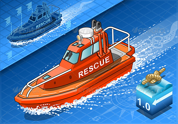 Isometric Rescue Boat in Navigation in Front View