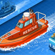 Isometric Rescue Boat in Navigation in Front View - GraphicRiver Item for Sale
