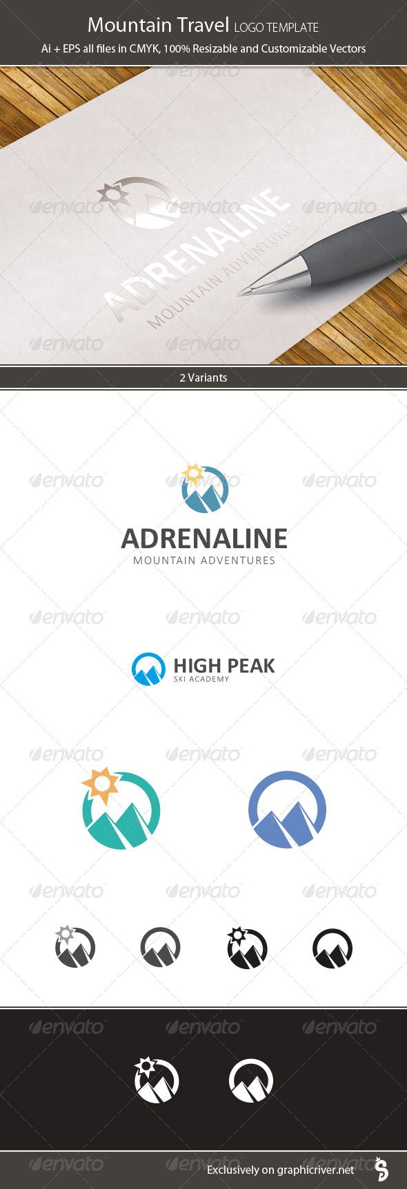 Mountain Travel Logo Template - Nature Logo Templates