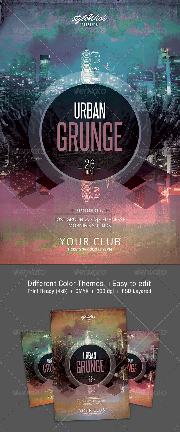 Urban Grunge Flyer - Clubs & Parties Events