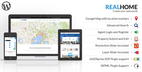 ThemeForest RealHome Responsive Real Estate WordPress Theme 7421569