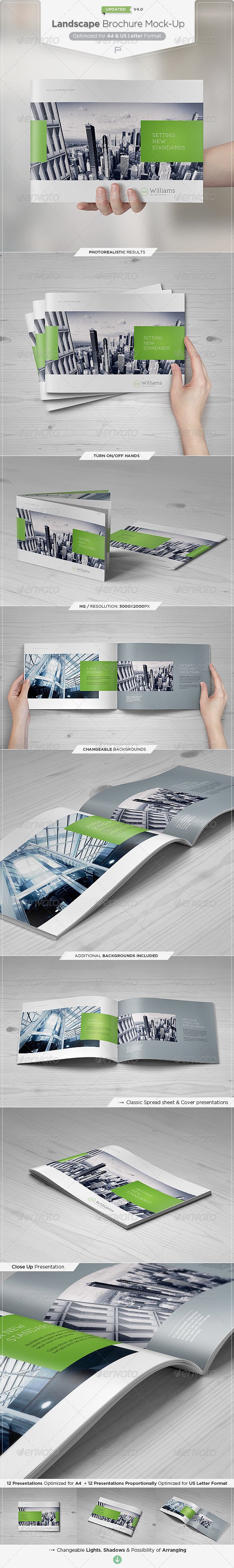 Landscape Brochure Mock-Up Set - Brochures Print
