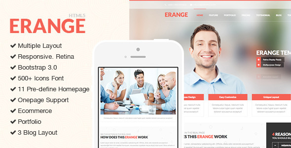 Erange - Responsive Multipurpose HTML5 Template - Corporate Site Templates
