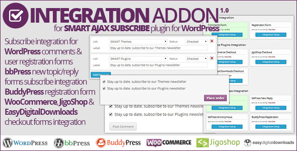 This is NOT standalone plugin, it is an addon for Smart AJAX Subscribe plugin, and this addon can't be used on it's own. This addon adds integratio