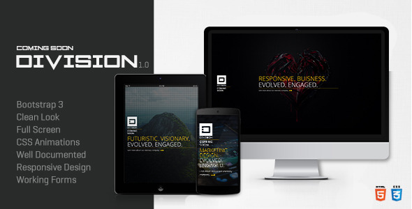 ThemeForest Division Responsive Coming Soon Template 7423107