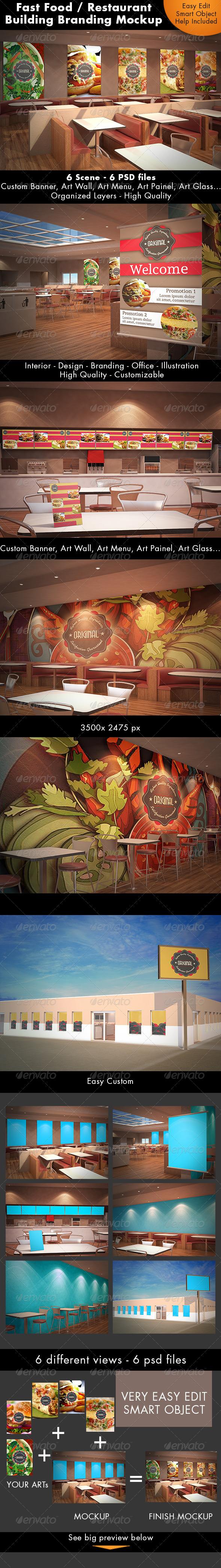 GraphicRiver Fast Food Building Branding Mockup 7424775