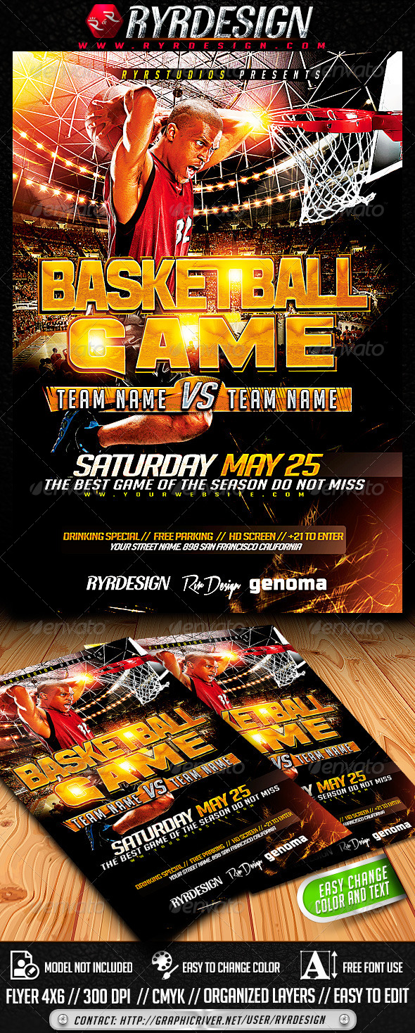 Basketball Playoffs Flyer PSD - Sports Events