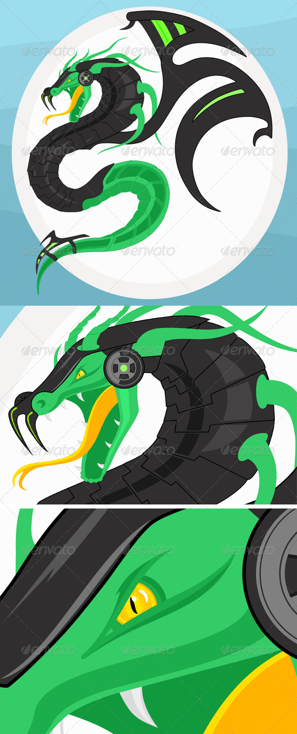 GraphicRiver Syber Dragon Illustration 7267618