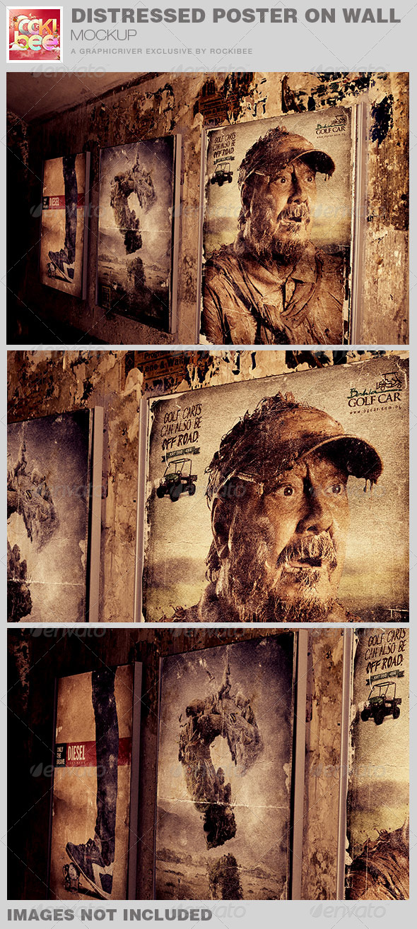 GraphicRiver Distressed Posters on Wall Mockup 7426381