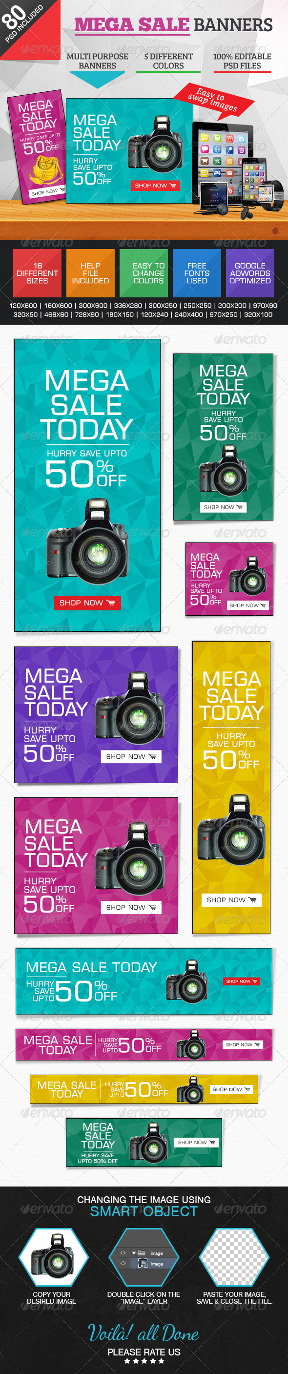 GraphicRiver Mega Sale Banners 5 Colours 7428211