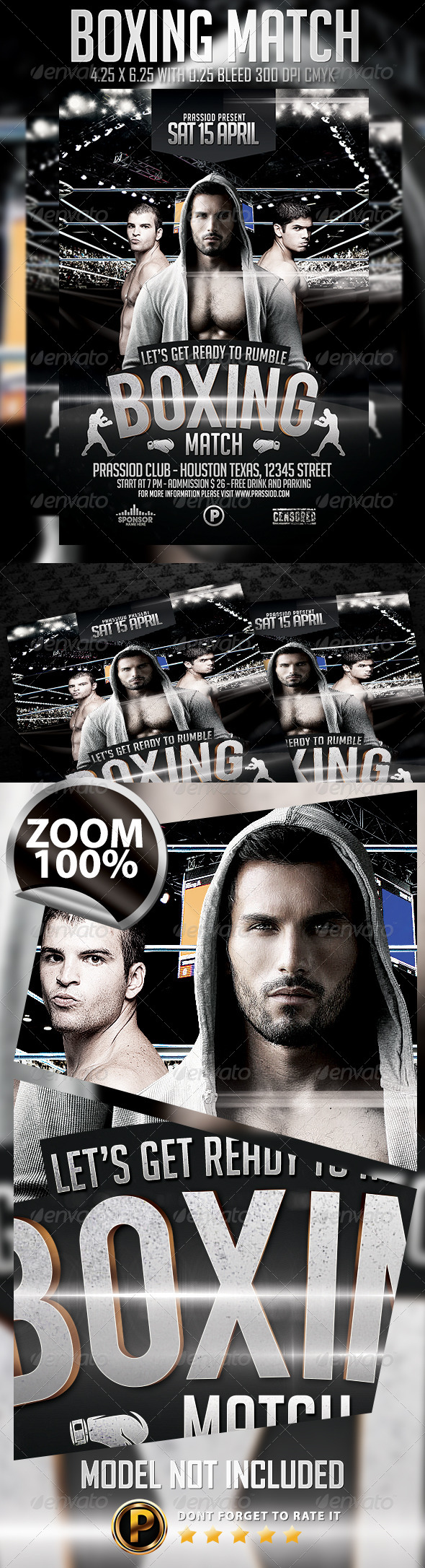 Boxing Match Flyer Template - Sports Events