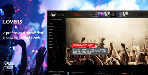 Lovers - Music HTML Template - Entertainment Site Templates