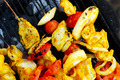 roast shish kebab on barbecue