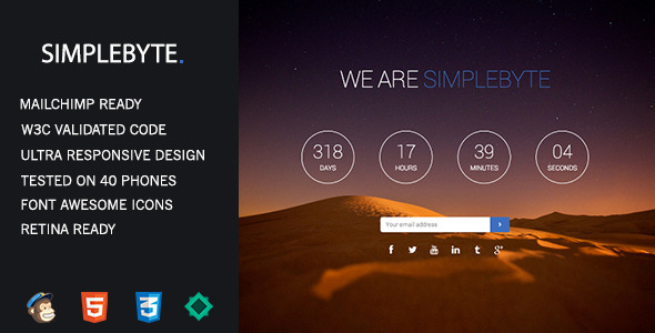 SimpleByte - Responsive Coming Soon Template - Under Construction Specialty Pages