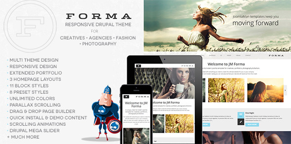 01 preview.  large preview - Forma, Creative, Fashion, Photogrpahy Drupal Theme