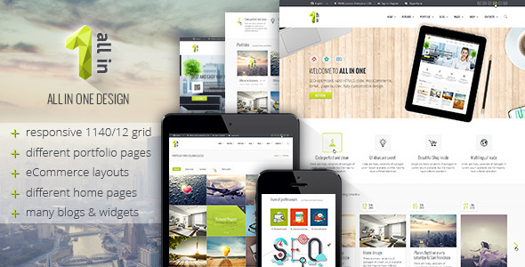 All in 1 is a clean and beautiful, responsive design PSD site template suitable for Creative, Corporate, Company Page, Fashion, Gallery Photo Site, Portfolio, P