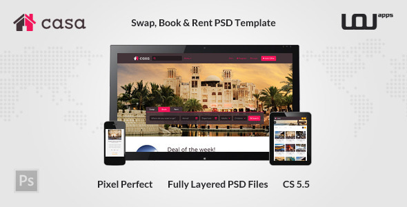 Casa - Swap, Book & Rent PSD Template - Miscellaneous PSD Templates
