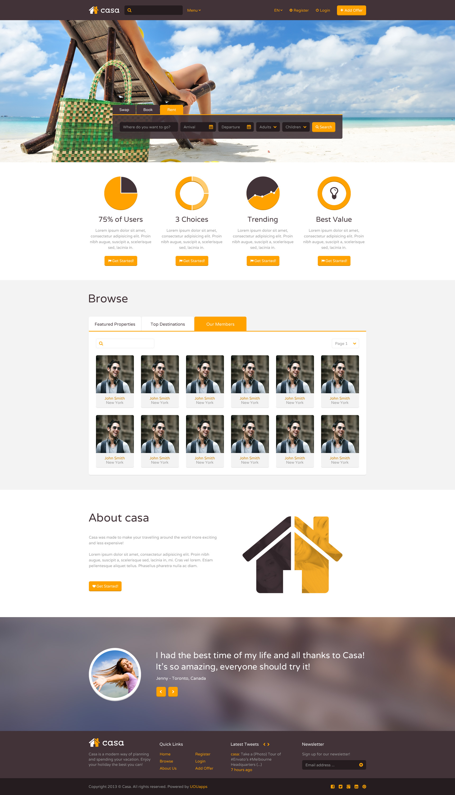 Casa - Swap, Book & Rent PSD Template