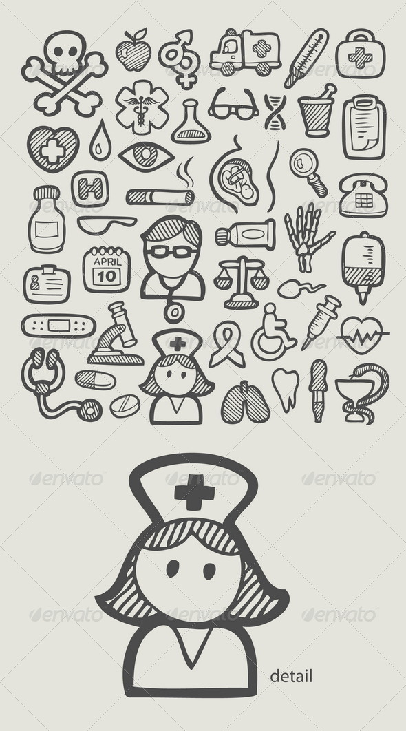 Medical Icons Sketch - Health/Medicine Conceptual