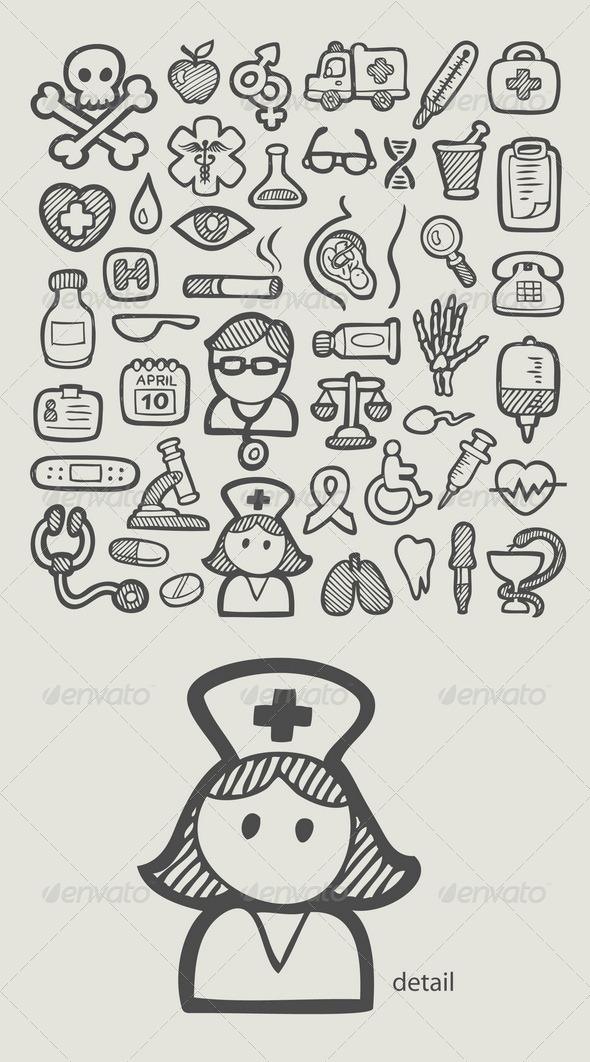 Medical Icons Sketch - Health/Medicine Conceptual
