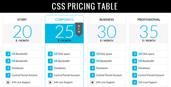 Clean modern pricing table jogjafile for Table css template