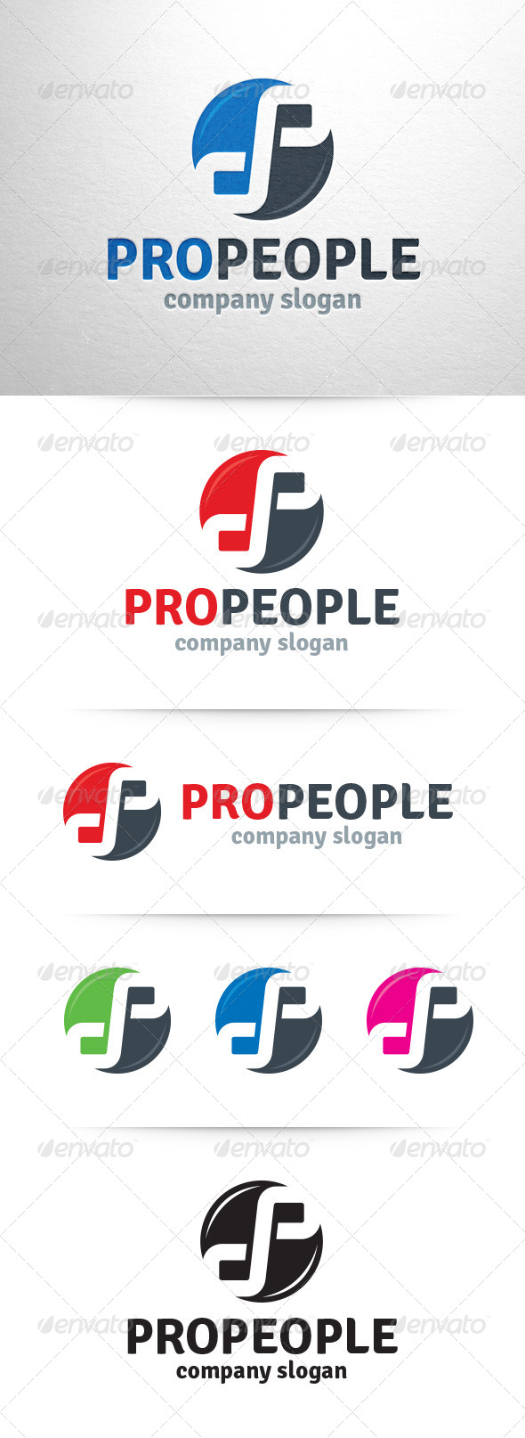 GraphicRiver Pro People Letter P Logo 7437115