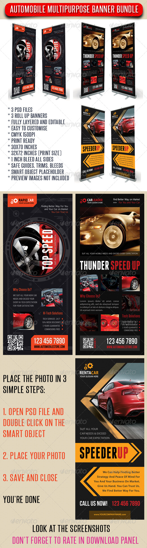 GraphicRiver 3 in 1 Auto Mobile Rollup Banner Bunle 01 7437525