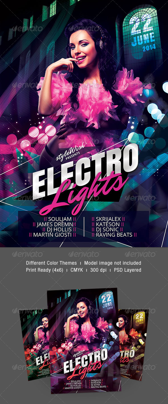 Electro Lights Flyer - Clubs & Parties Events