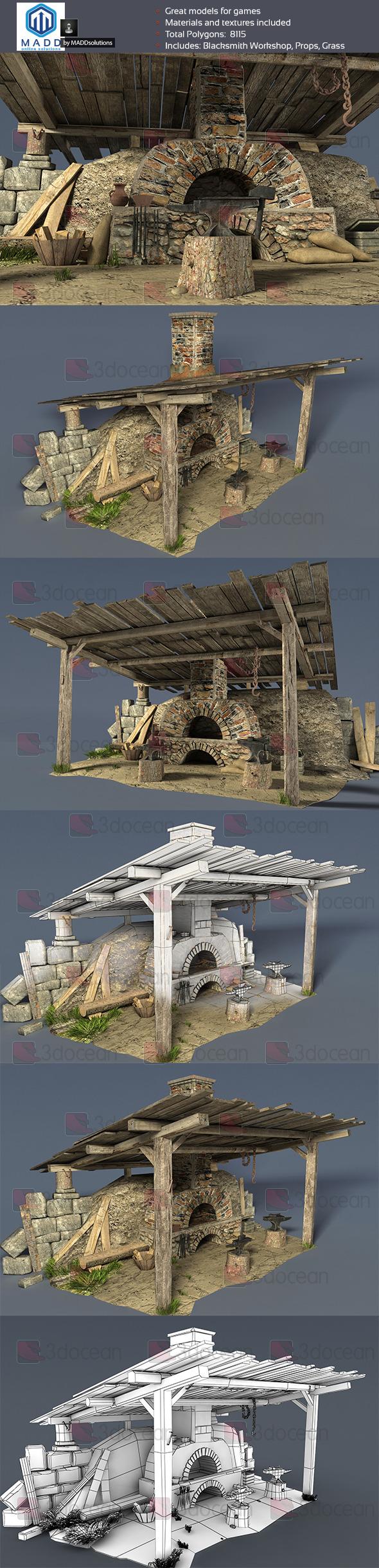 Old Blacksmith Workshop - 3DOcean Item for Sale