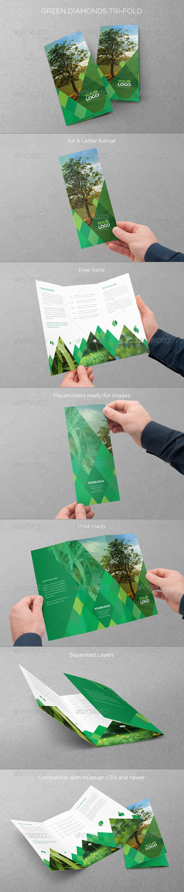 GraphicRiver Green Diamonds Trifold 7438199