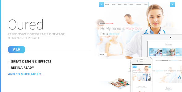Cured - Bootstrap One Page HTML/CSS Template - Health & Beauty Retail