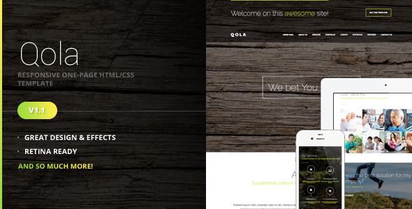 Qola - Responsive One Page Template - Portfolio Creative
