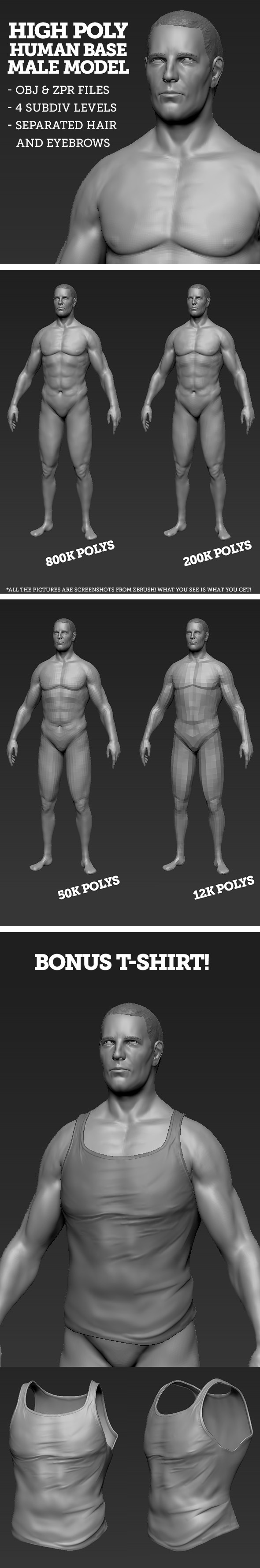 3DOcean High Polygon Base Human Male Model 7440107