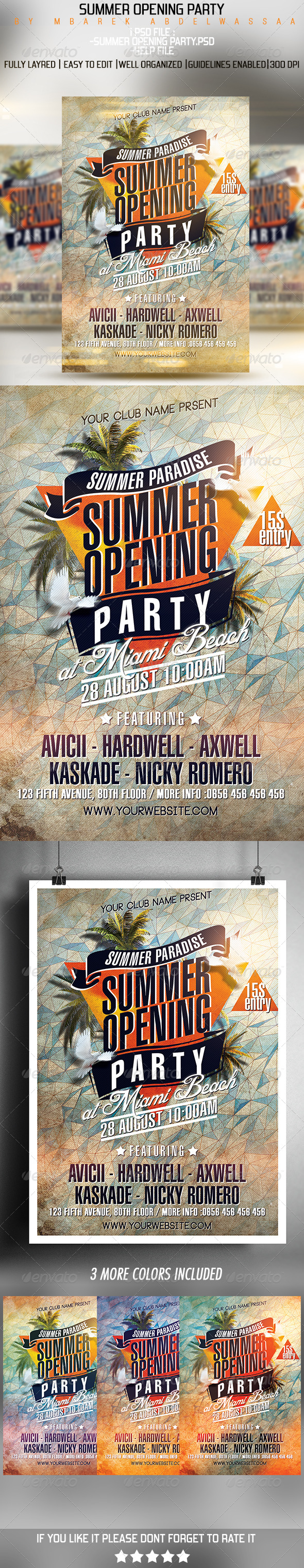 GraphicRiver Summer Opening Party Flyer 7440268