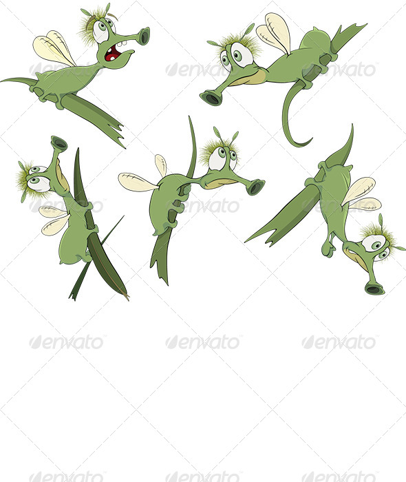 GraphicRiver Green Cartoon Insects 7440534