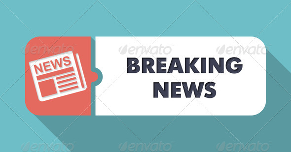 Breaking News Concept in Flat Design on Blue Background. - Stock Photo - Images