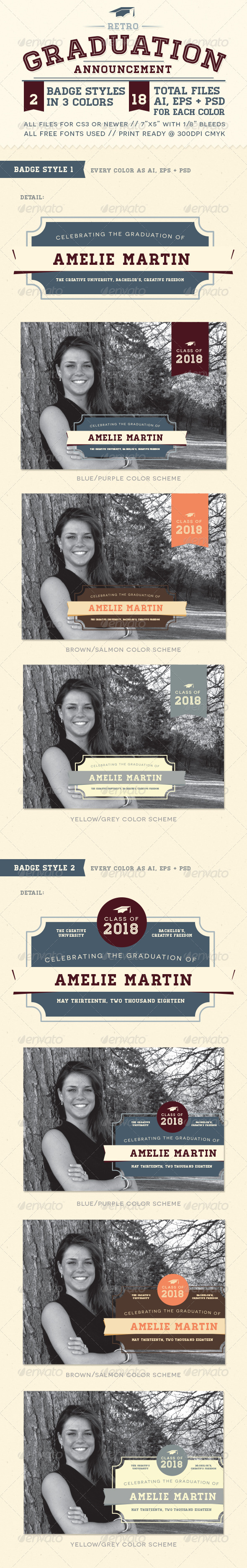 GraphicRiver Retro Graduation Announcement 7440890