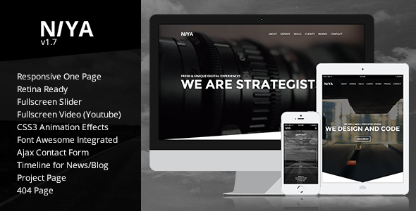 NIYA - Responsive One Page Retina Ready Template - Portfolio Creative