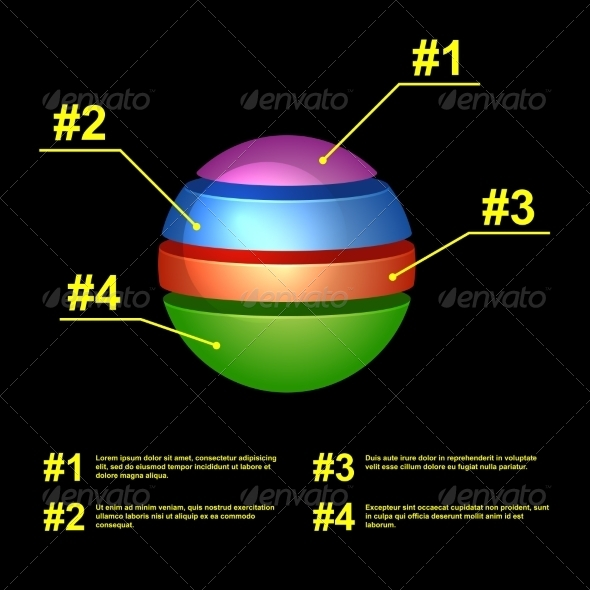GraphicRiver Colorful Business Pie Chart on Black Background 7440965