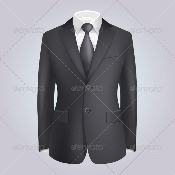 Male Clothing Dark Suit with Tie