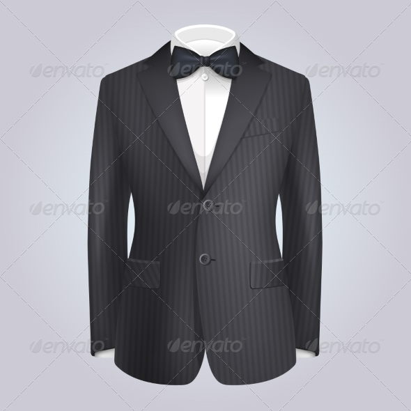 GraphicRiver Male Clothing Stiped Dark Suit with Bow Tie 7440972