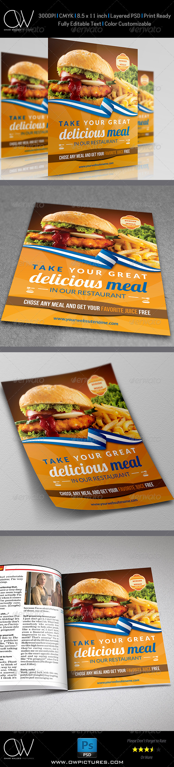 GraphicRiver Burger Restaurant Flyer Template 7441085