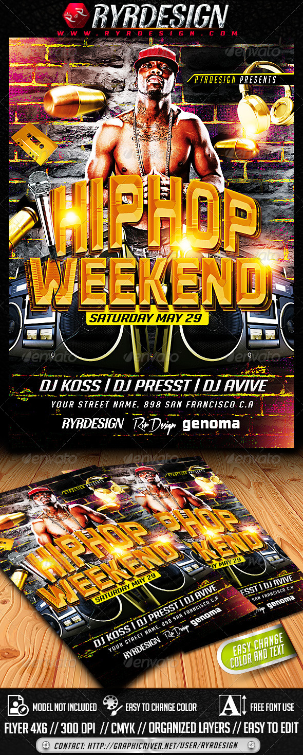 GraphicRiver HipHop Flyer Template PSD 7441448