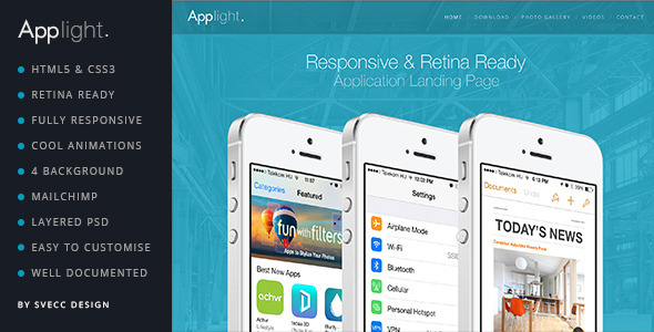 ThemeForest AppLight Responsive One Page Scroll App Theme 7376102
