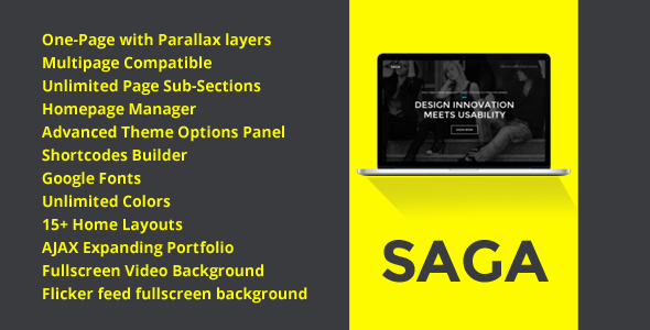 SAGA - WordPress One Page Responsive Portfolio
