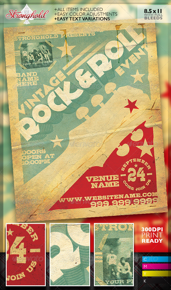 GraphicRiver Vintage Rock & Roll Concert Flyer Template 7441753
