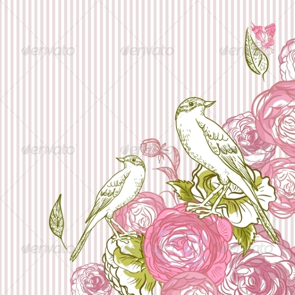 GraphicRiver Vintage Floral Card with Birds and Butterflies 7441879