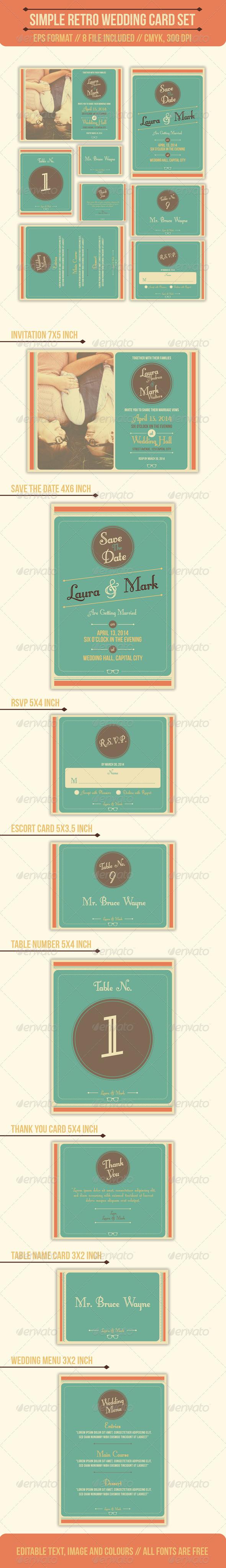 Simple Retro Wedding Card Set